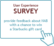 provide feedback about NAB with a chance to win a Starbucks gift card