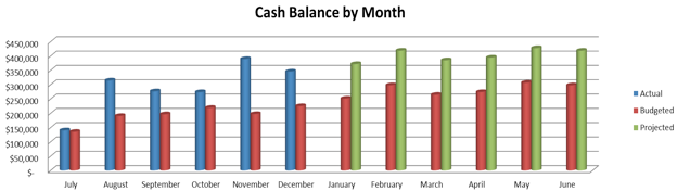 a simple chart that shows budgeted based on the annual budget adjusted to cash basis projected and year to date actual cash balances provides management