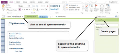 The OneNote Workspace